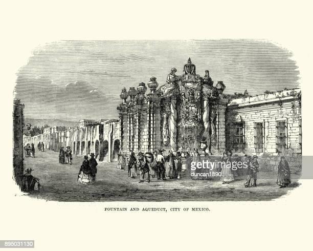 fountain and aqueduct, mexico city, 19th century - aqueduct stock illustrations, clip art, cartoons, & icons