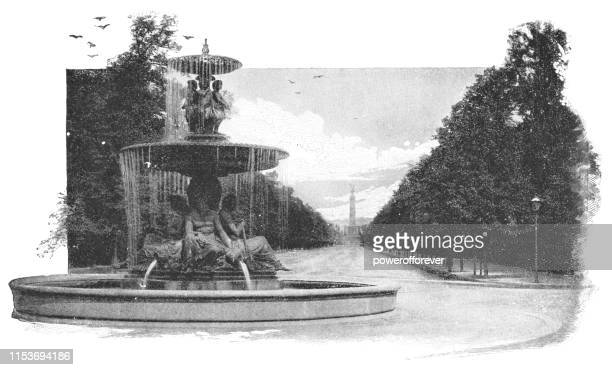 Fountain at Tiergarten Park in Berlin, Germany - Imperial Germany 19th Century