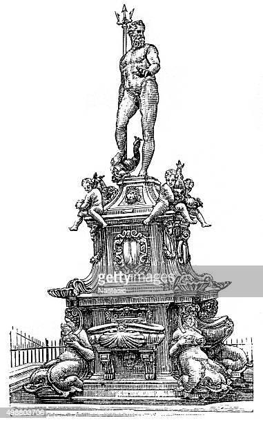 fountain of neptune, bologna, italy - fountain stock illustrations, clip art, cartoons, & icons