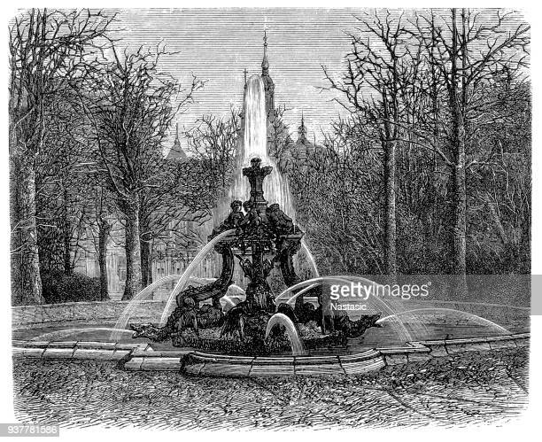 fountain of the dragons, in the gardens of the royal palace of la granja de san ildefonso, segovia, spain - eastern europe stock illustrations, clip art, cartoons, & icons