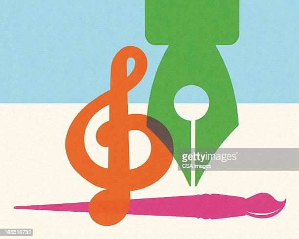 Fontana penna, il pennello, Chiave di violino