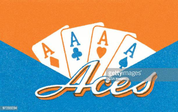 four aces - ace stock illustrations, clip art, cartoons, & icons