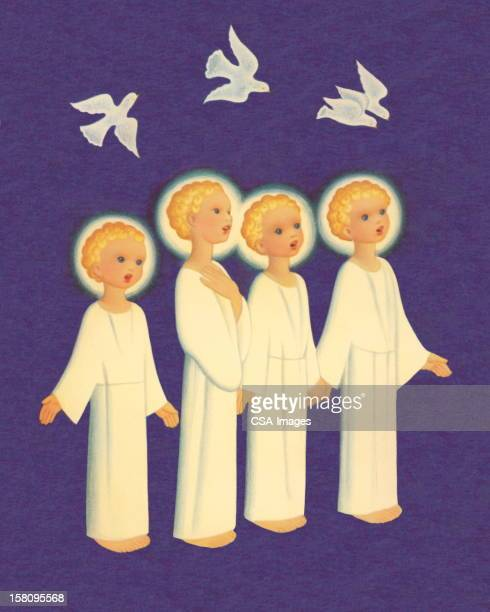 four angels singing - religious dress stock illustrations, clip art, cartoons, & icons