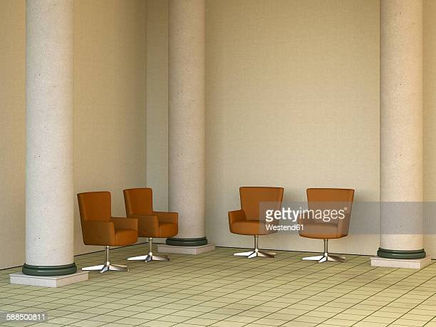 Four armchairs standing in a lobby between columns, 3D Rendering