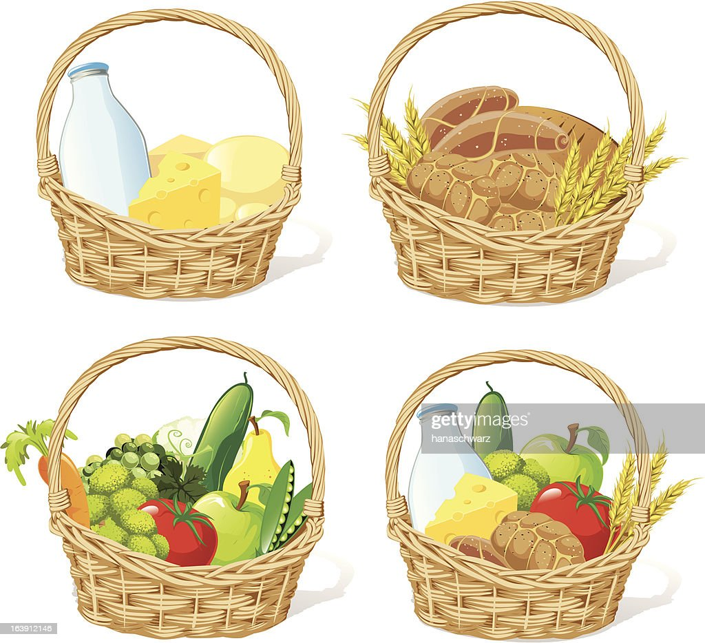 four baskets with milk, cheese, fruit, cereals and vegetable