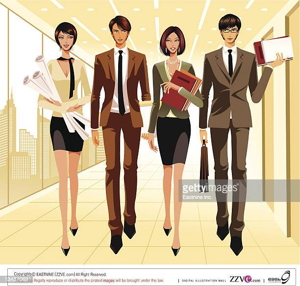 Four business people walking together