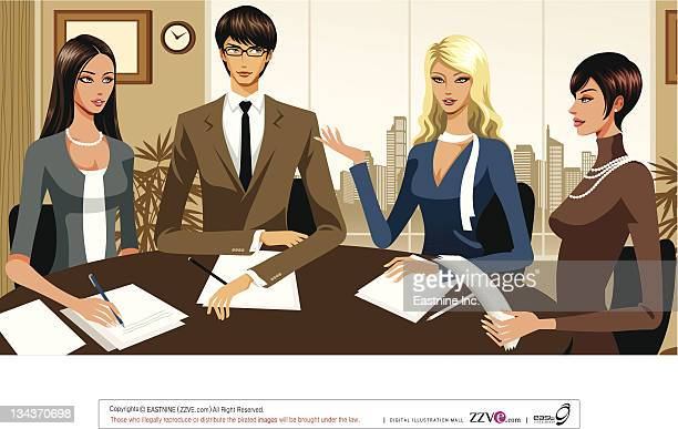 Four business people working on Project
