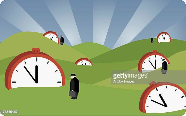 four businessmen standing on a landscape with alarm clocks - 45 49 years stock illustrations, clip art, cartoons, & icons