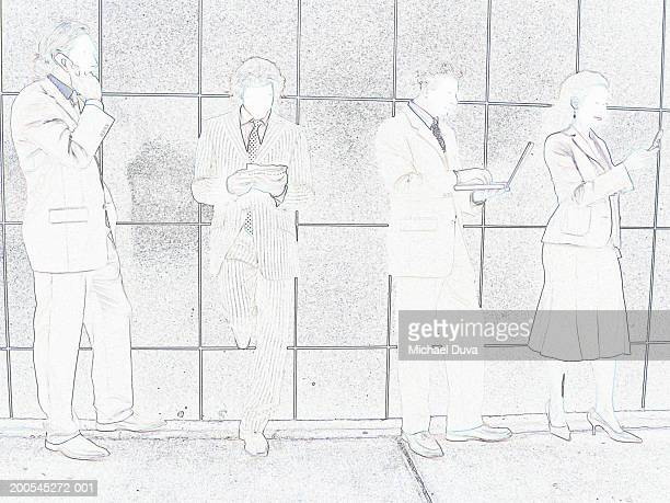 four businesspeople using mobile phones, laptop and palm top by wall - digital enhancement stock illustrations