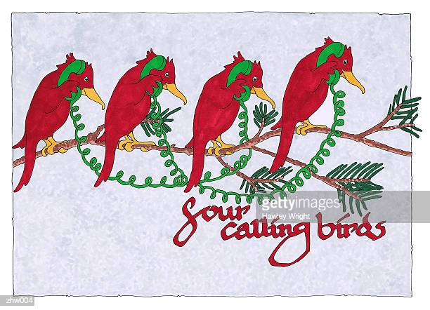 four calling birds - phone cord stock illustrations, clip art, cartoons, & icons