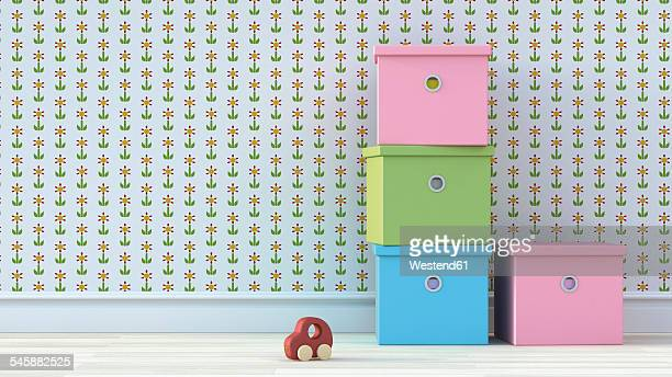 four cardboard boxes and wooden toy car in nursery - toy stock illustrations