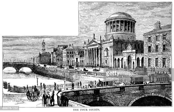 Four Courts, Inn's Quay, Dublin (Victorian engraving)