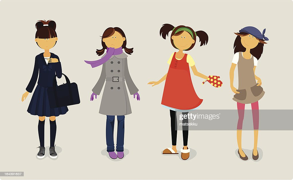 Four cute girls in stylish dresses.