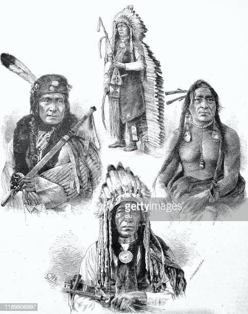 ilustraciones, imágenes clip art, dibujos animados e iconos de stock de cuatro miembros de tribus indias - indios americanos sioux