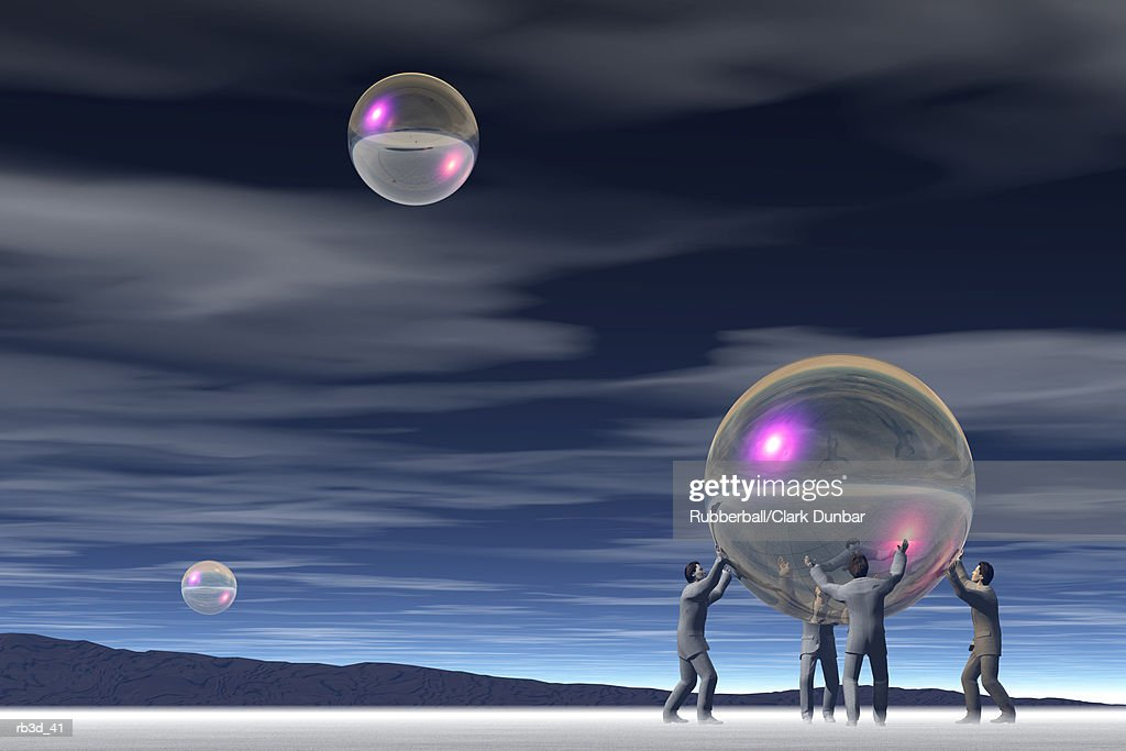 four men hold up a bubble while two bubbles float in a cloudy night sky : Stockillustraties