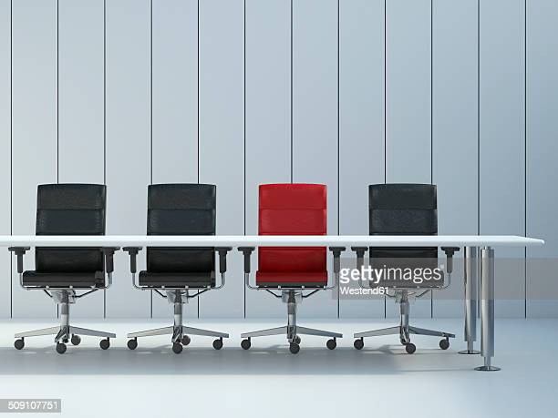 Four office chairs and conference table in front of grey wall panel, 3D Rendering