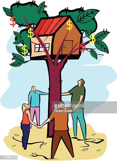 Four people standing around a home on a tree