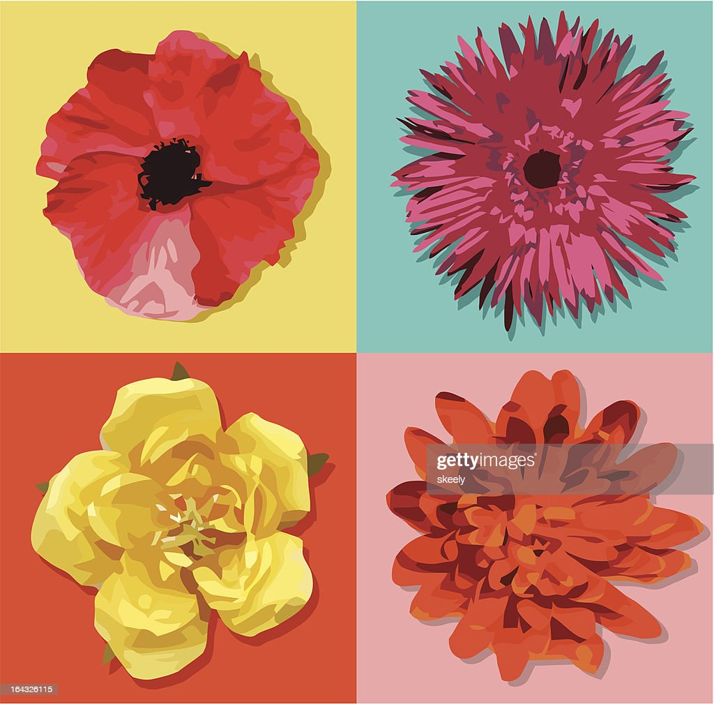 Four Pop Art Style Flowers