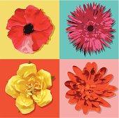 Four Pop Art Style Flowers