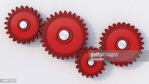 four red cogwheels on light background, 3d rendering - zahnrad stock-grafiken, -clipart, -cartoons und -symbole