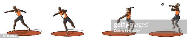 four stages of athlete throwing a discus, preliminary swing, turning circle, release and follow through - discus stock illustrations, clip art, cartoons, & icons