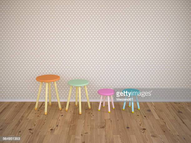 four stools in a row, 3d rendering - stool stock illustrations, clip art, cartoons, & icons
