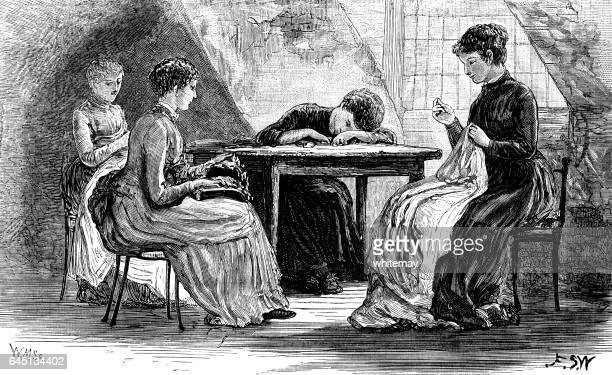 Four Victorian women sewing in an attic