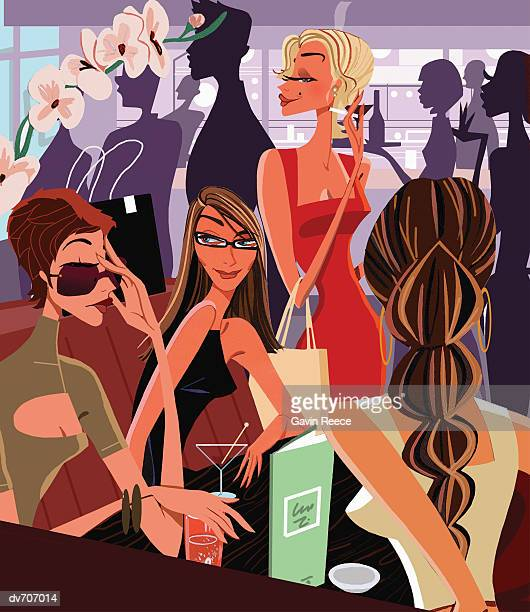 Four Women Relaxing in a Crowded Bar