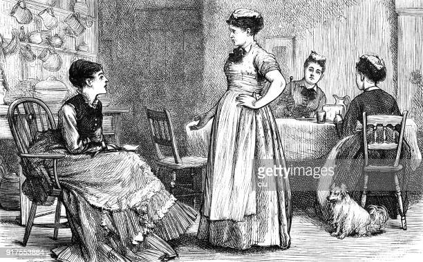 four women talking in the kitchen - 1877 stock illustrations, clip art, cartoons, & icons