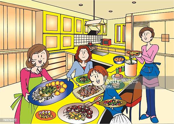 Four Young Adult Women Having a House Party, Illustrative Technique