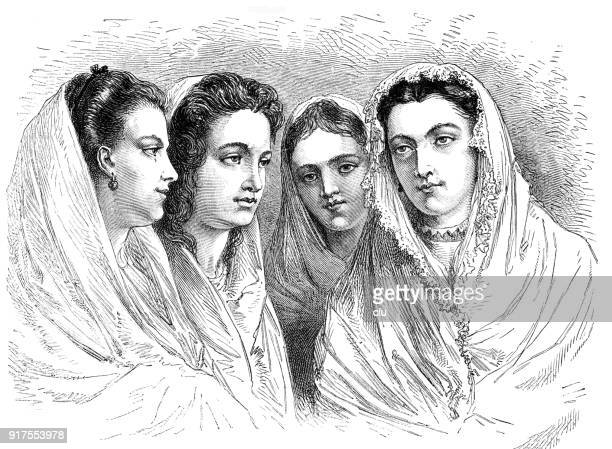 four young women from chioggia, headshots in veils , italy - 1877 stock illustrations, clip art, cartoons, & icons