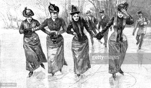four young women ice skating - ice skating stock illustrations