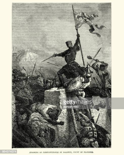 fourth crusade, sack of constantinople, baldwin count of flanders - siege stock illustrations