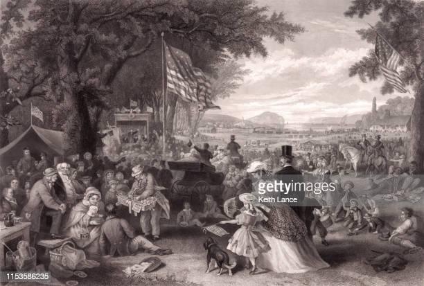 fourth of july celebration - 19th century stock illustrations