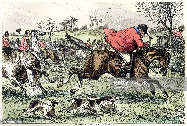 Fox hunting man being chased by a bull
