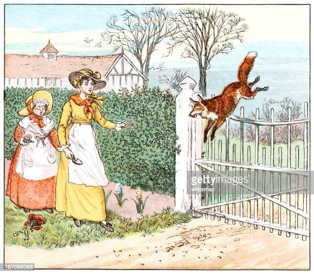fox jumping over a gate - traditional sport stock illustrations, clip art, cartoons, & icons