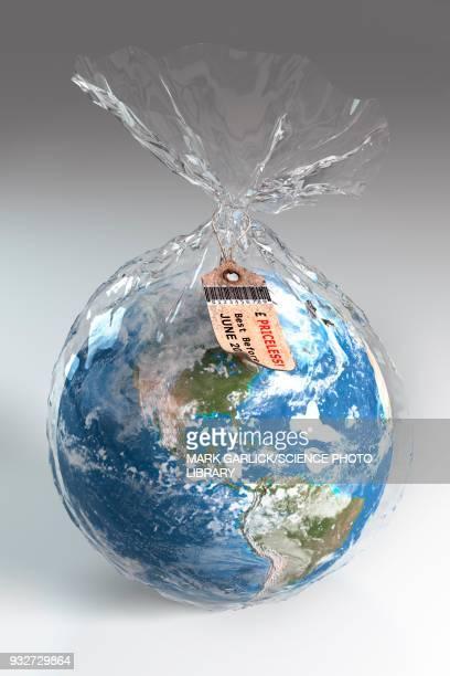 fragile earth, conceptual illustration - plastic stock illustrations