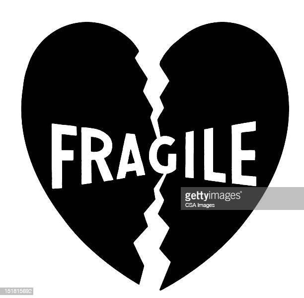 fragile heart - logo stock illustrations