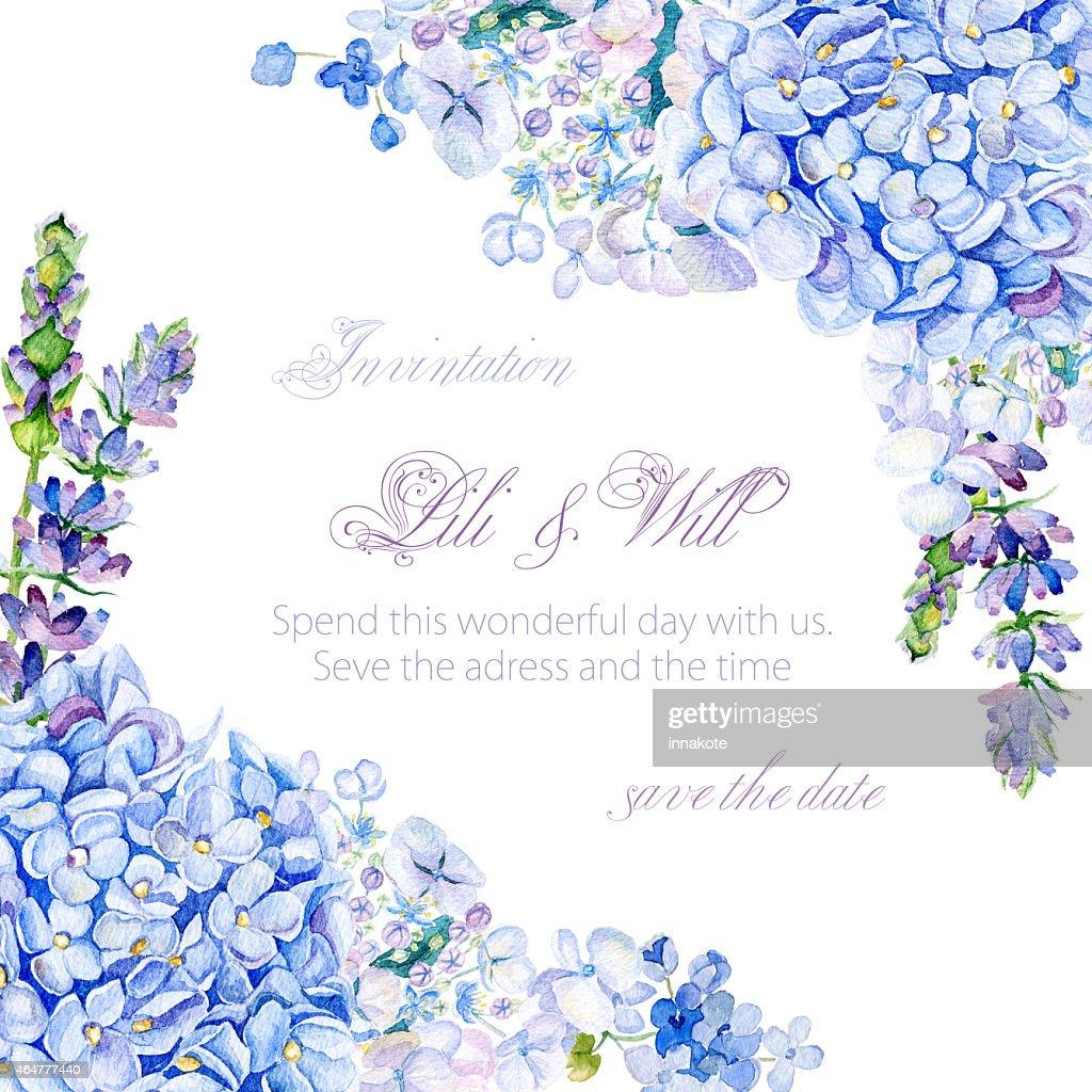 Rahmen Von Aquarell Blau Hortensie Lavendel Stock-Illustration ...