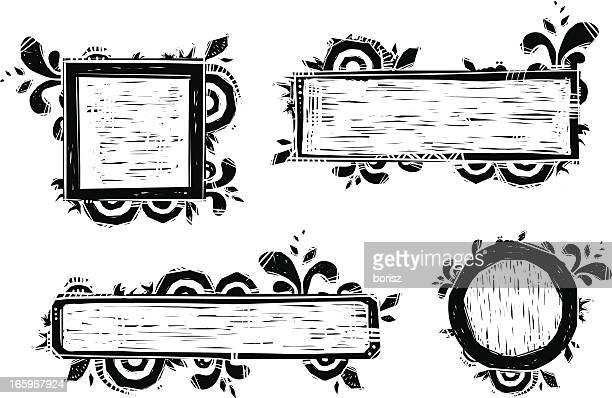 frame set - woodcut stock illustrations, clip art, cartoons, & icons