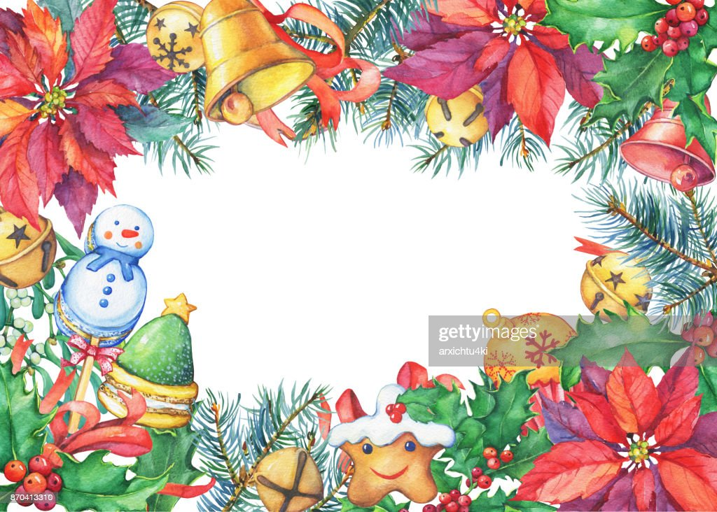 Frame With A Christmas Tree Poinsettia Holly Bell Candy Christmas ...