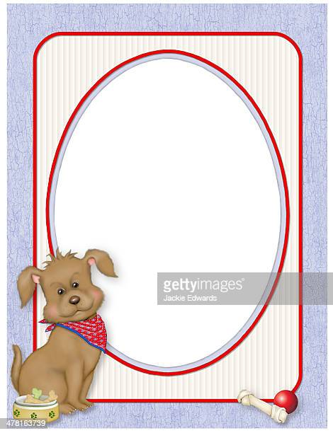 a frame with a dog wearing a handkerchief - dog bowl stock illustrations, clip art, cartoons, & icons