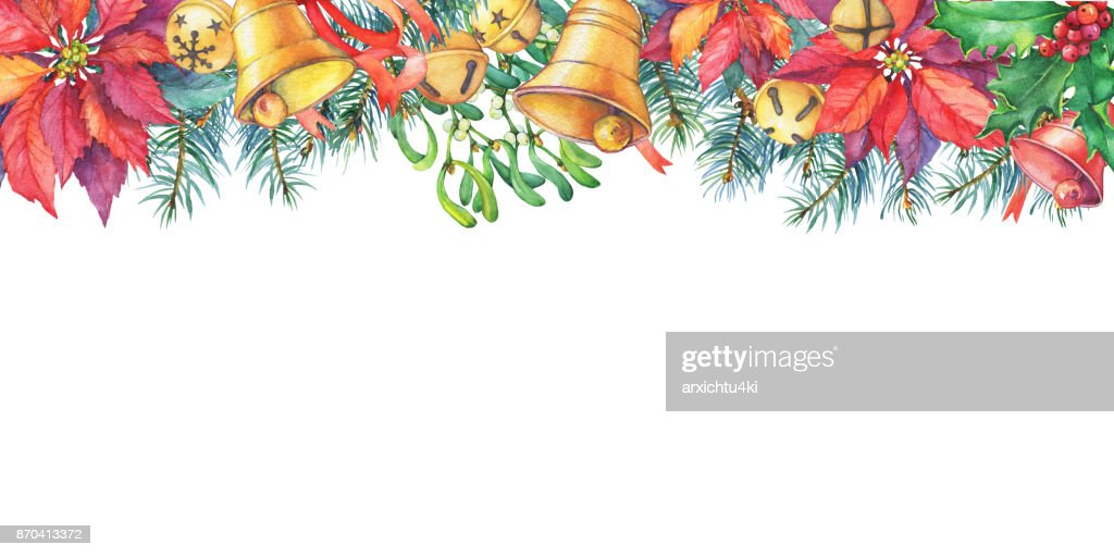 Frame With Christmas Tree Poinsettia Holly Bell Christmas Decoration ...