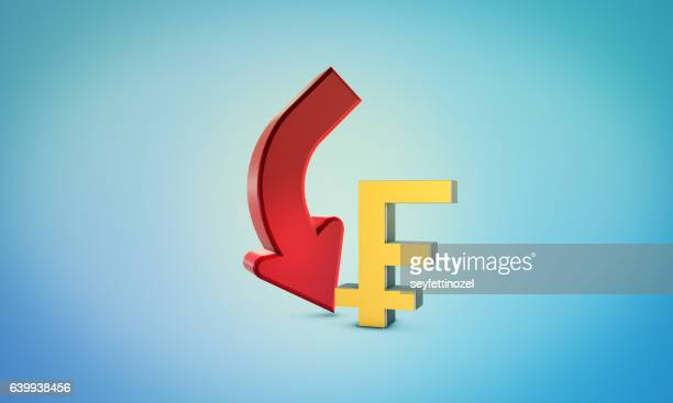 franc down symbol - forex and bourse concept - franc sign stock illustrations, clip art, cartoons, & icons