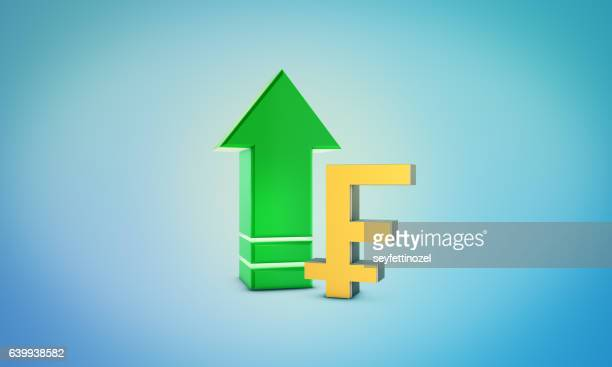 franc growth symbol - forex and bourse concept - franc sign stock illustrations, clip art, cartoons, & icons