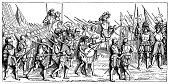 illustration france infantry march drawing after