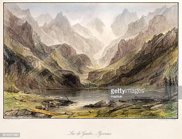 stockillustraties, clipart, cartoons en iconen met france, lac de gaube, pyrenees, landscape of 19 century - pyreneeën