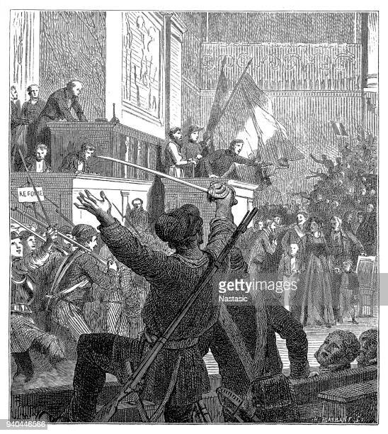 france. liberal revolution, 1848. popular uprising to force the abdication of king louis philippe of orleans and proclaim the second republic (days 22 to 24 february) - 1840 1849 stock illustrations