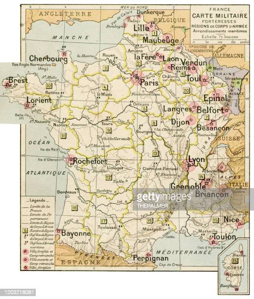france military and fortress map 1887 - en búsqueda stock illustrations