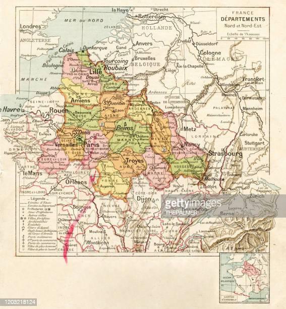 bildbanksillustrationer, clip art samt tecknat material och ikoner med frankrike nord- och nordostlig områden kartlägger 1887 - côte d'or
